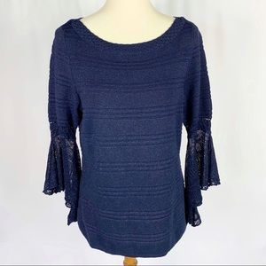 WHBM Navy Metallic Gold Lace Bell Sleeve Sweater